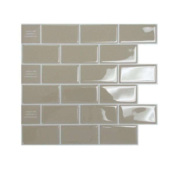 Smart Tiles 9.70 in. x 10.95 in. Peel and Stick Sand
