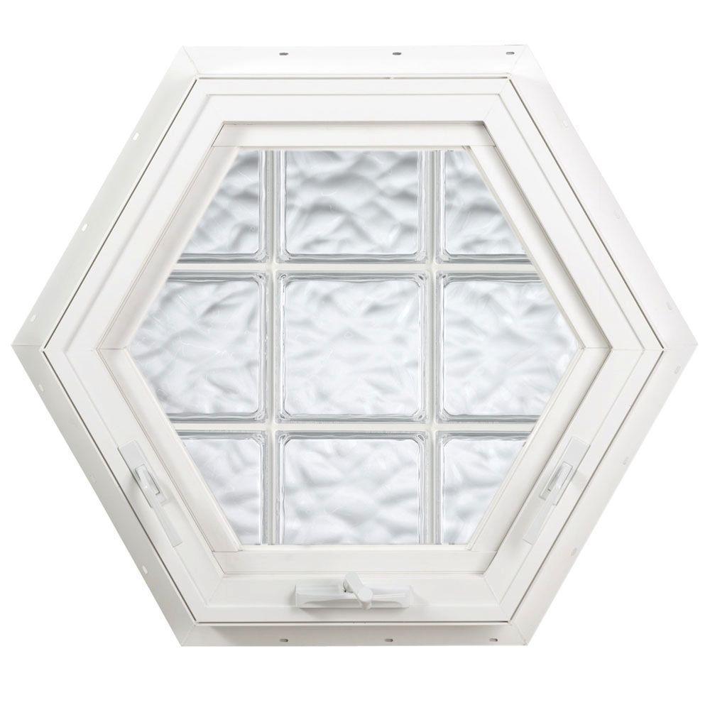 Hy-Lite 27.75 in. x 24 in. Acrylic Block Hexagon Awning Vinyl Window - White