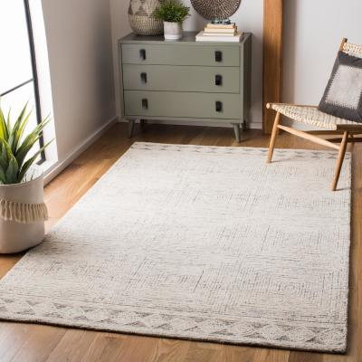 Abstract Ivory/Gray 6 ft. x 6 ft. Square Area Rug
