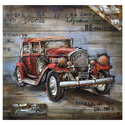 """Red Vintage Car"" by Unknown Artist Wooden Wall Art"