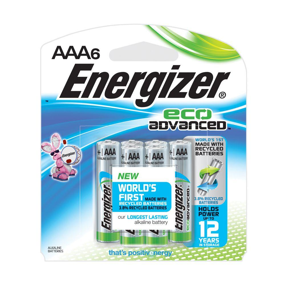 energizer eco advanced performance alkaline aaa battery 6 per pack xr92bp 6 the home depot. Black Bedroom Furniture Sets. Home Design Ideas