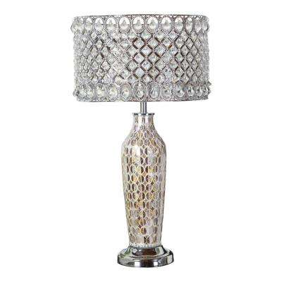 25 in. Silver Table Lamp with Mosaic Base and Glass and Punched Metal Shade