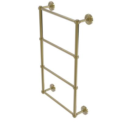 Prestige Regal 4 Tier 30 in. Ladder Towel Bar with Groovy Detail in Unlacquered Brass