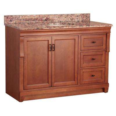 Naples 49 in. W x 22 in. D Bath Vanity in Warm Cinnamon with Right Drawers and Stone Effects Vanity Top in Santa Cecilia