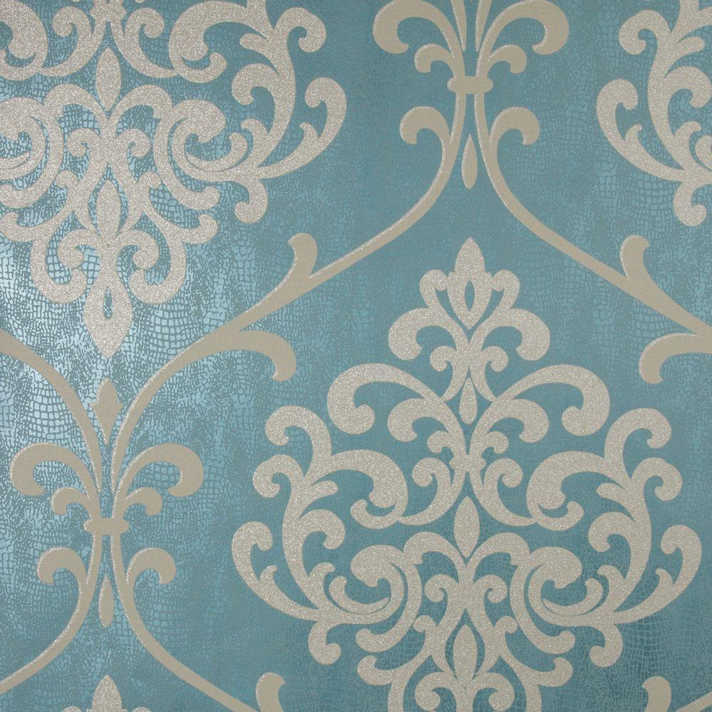 Ambrosia Teal Glitter Damask Wallpaper