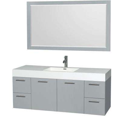 Amare 60 in. W x 21.75 in. D Vanity in Dove Gray with Acrylic Resin Vanity Top in White with White Basin and Mirror