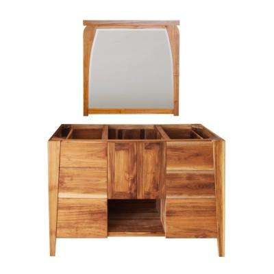 Significado 48 in. L Natural Teak Vanity Only With 36 in. L x 35 in. H Mirror