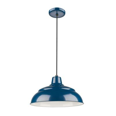 15 in. 1-Light Navy Blue Warehouse/Cord Hung