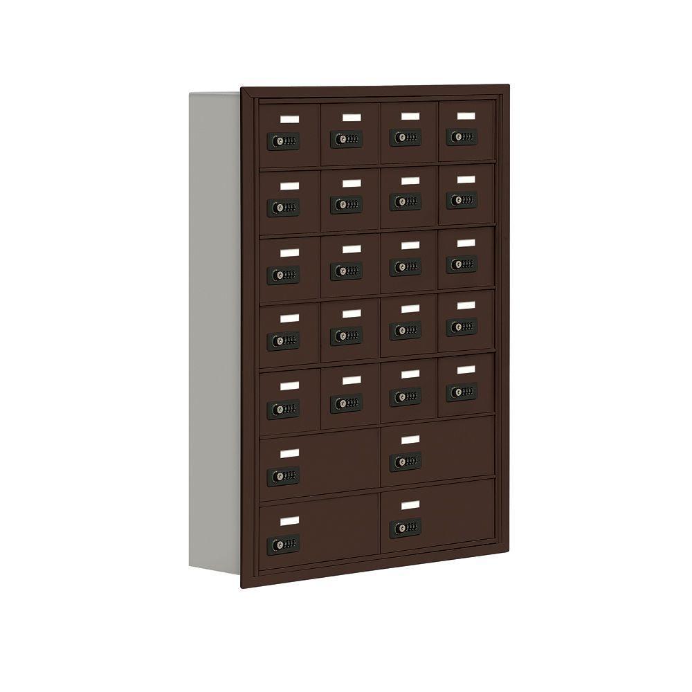 19000 Series 30.5 in. W x 42 in. H x 5.75 in. D 20 A/4 B Doors R-Mount Resettable Locks Cell Phone Locker in Bronze