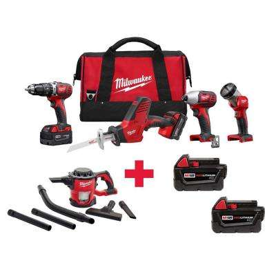 M18 18-Volt Lithium-Ion Cordless Combo Kit (4-Tool) with Free M18 vacuum and M18 3.0AH Batteries (2-Pack)
