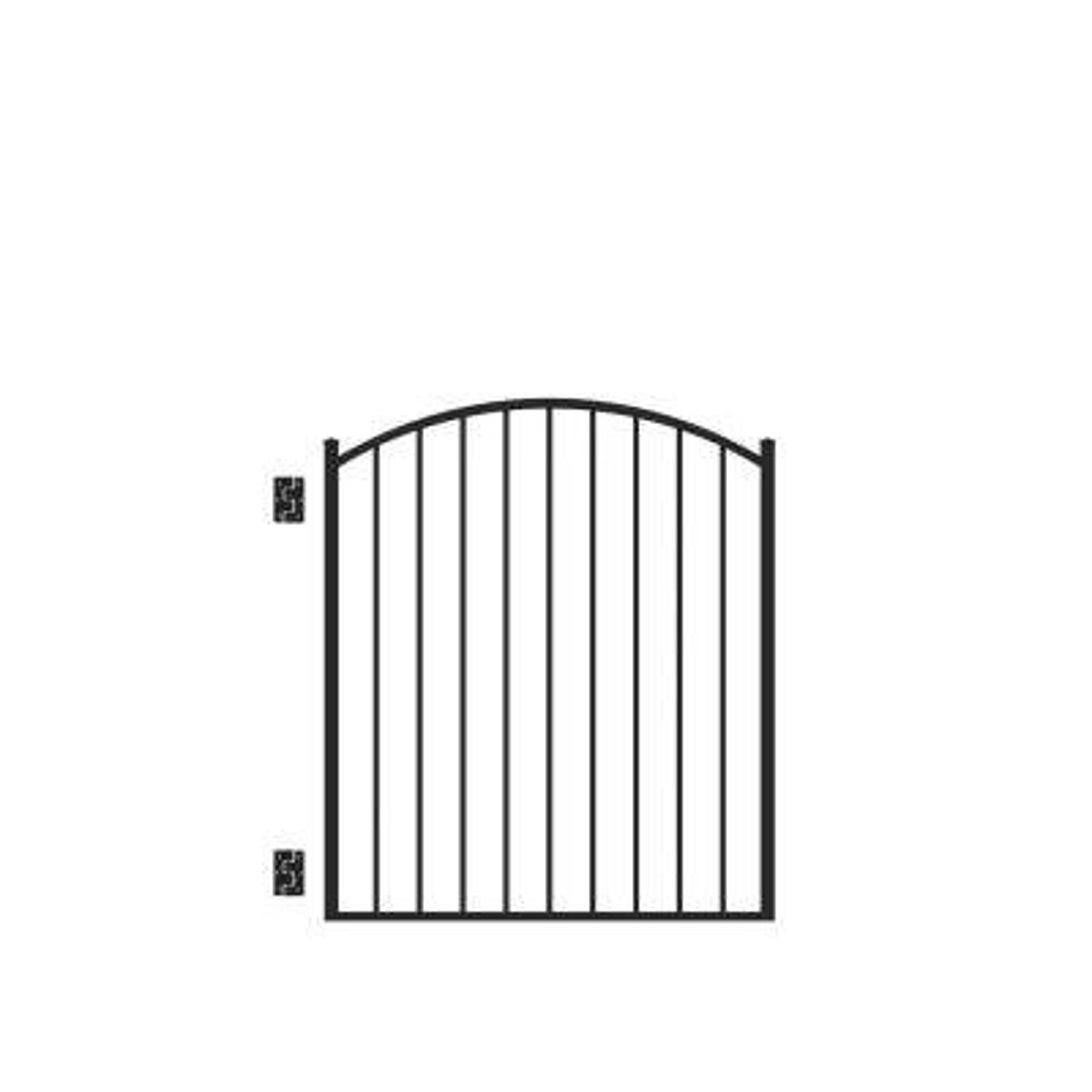 Beechmont Standard-Duty 4 ft. W x 4 ft. H Black Aluminum Arched Pre-Assembled Fence Gate
