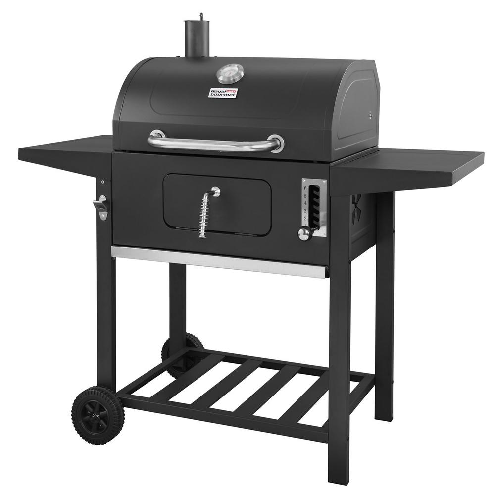Bbq Charcoal Grill In Black With 2 Side Table