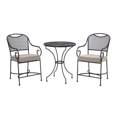 Birkdale 3-Piece Metal Outdoor Balcony Height Bistro Set with Tan Cushions