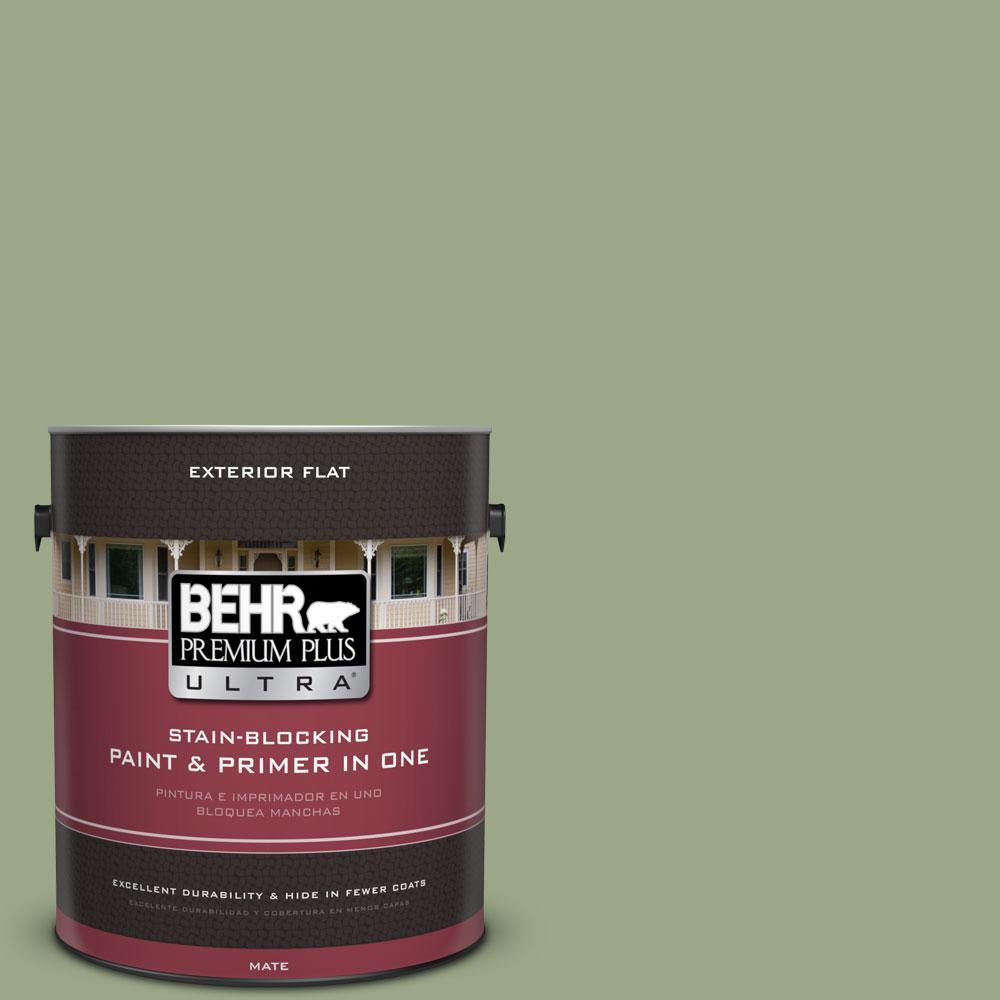 BEHR Premium Plus Ultra 1-Gal. #PPU11-7 Clary Sage Flat Exterior Paint, Greens