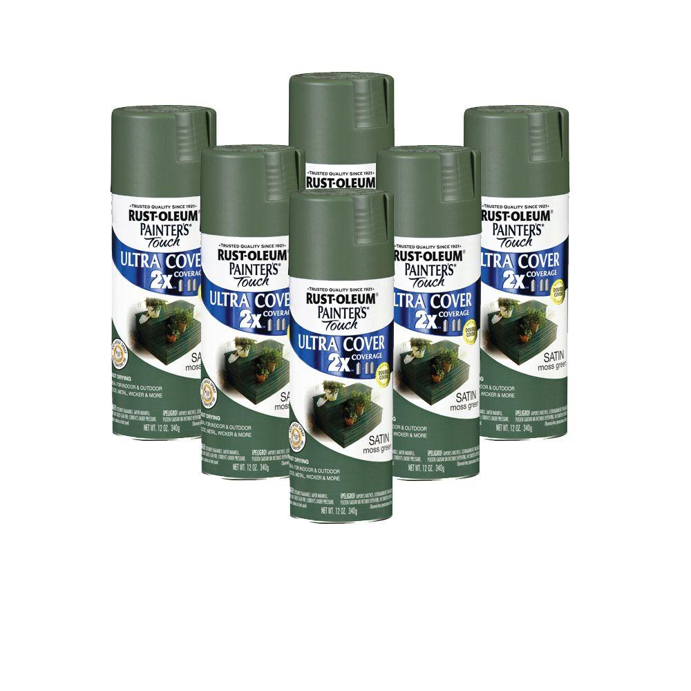 Painter's Touch 12 oz. Satin Moss Green Spray Paint (6-Pack)-DISCONTINUED