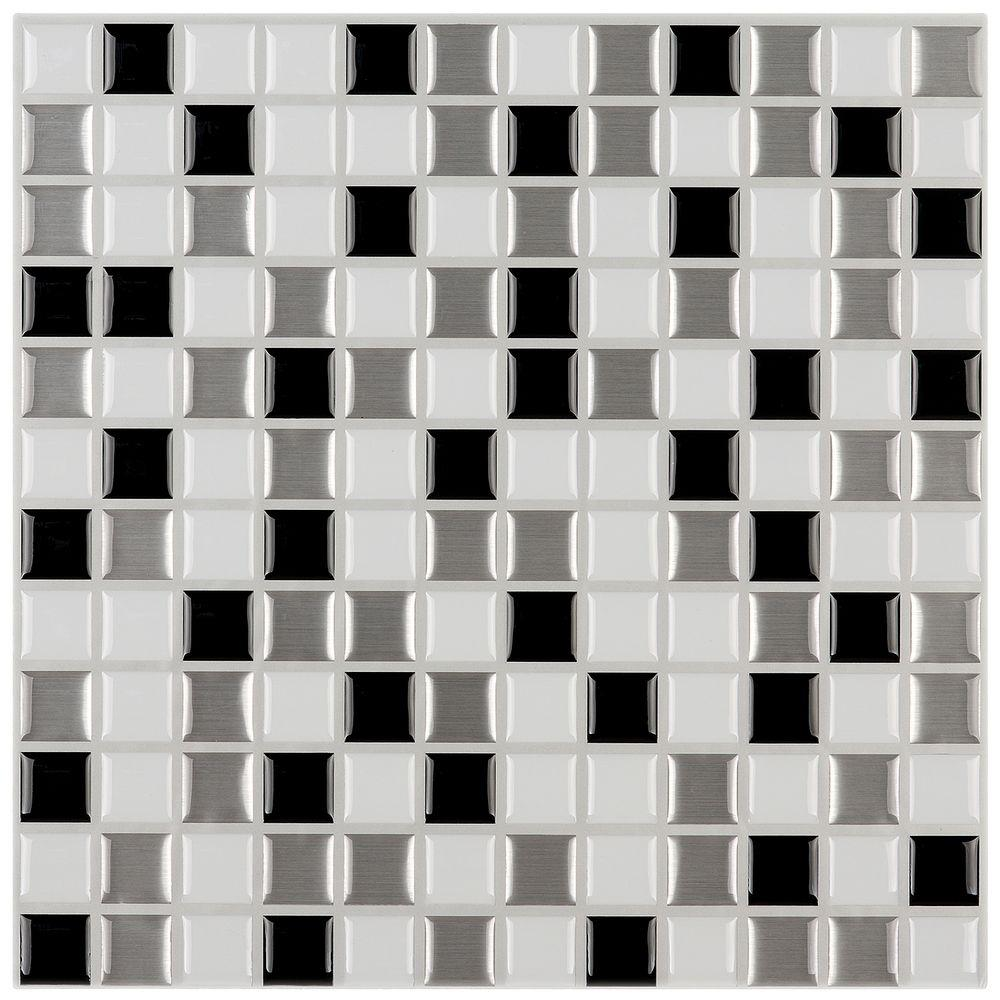 12 In X L And Stick Mosaic Decorative Wall Tile Shades Of Gray White 6 Pack