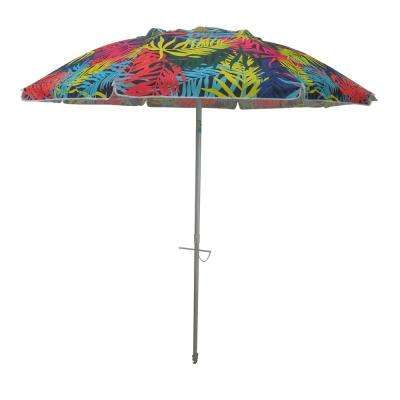 7 ft. Aluminum Push-Up Beach Drape Patio Umbrella in Multi-Color Polyester