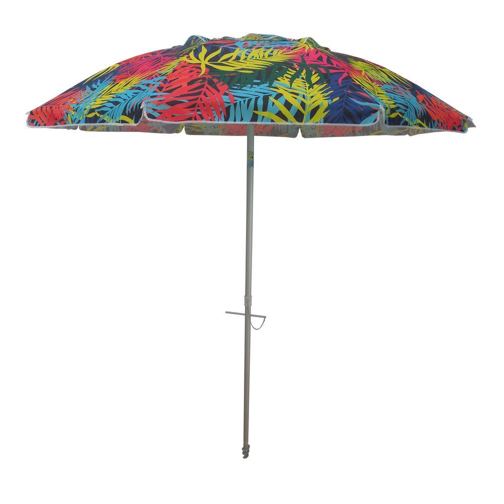 7 ft. Aluminum Push-Up Beach Drape Patio Umbrella in Multi-Color Polyester