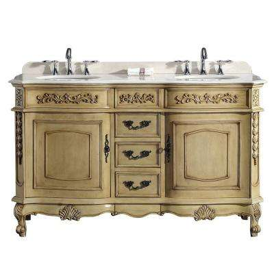 60 in. W x 21 in. D Vanity in Antique Parchment with Marble Vanity Top in Cream with White Basin