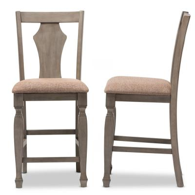 Arianna Beige Fabric Upholstered Counter Stools (Set of 2)