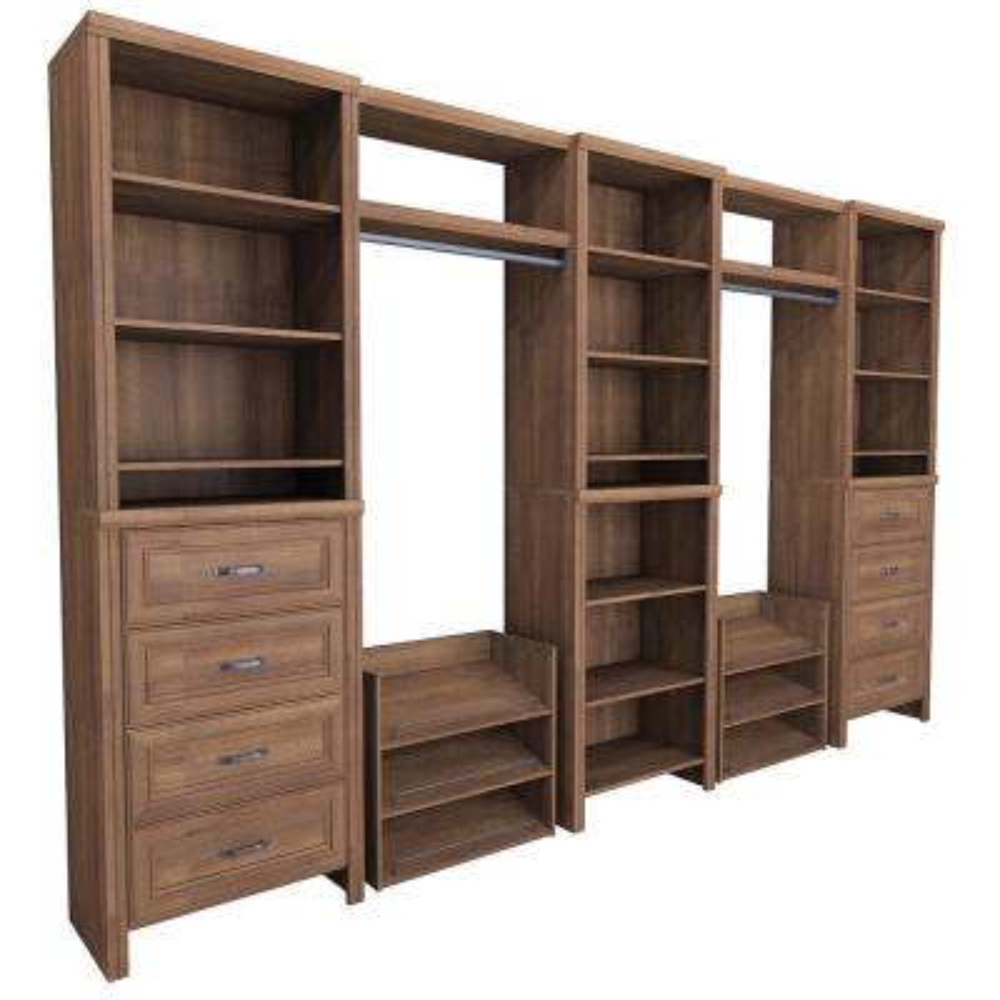 Impressions 14.57 in. D x 148 in. W x 83 in. H 17-Piece Mudroom Laminate Closet System in Walnut