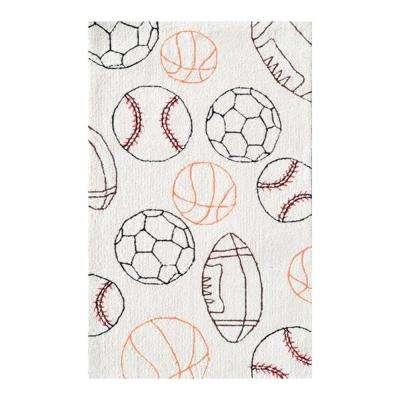 Sport Balls Cream 3 ft. x 5 ft. Indoor Area Rug