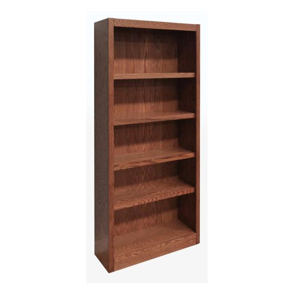 Concepts In Wood 72 In Dry Oak Wood 5 Shelf Standard Bookcase With Adjustable Shelves Mi3072 D The Home Depot