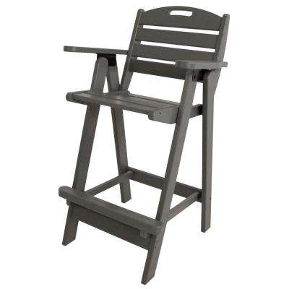 Nautical Slate Grey Plastic Outdoor Patio Bar Chair