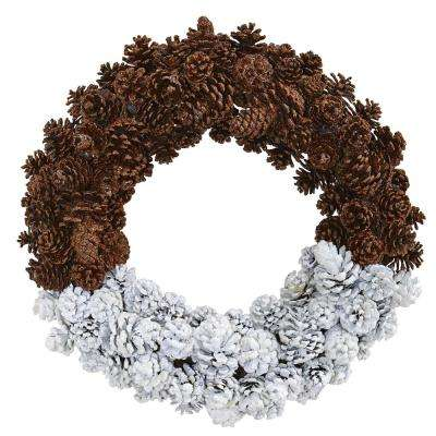 20 in. Frosted Pine Cone Wreath
