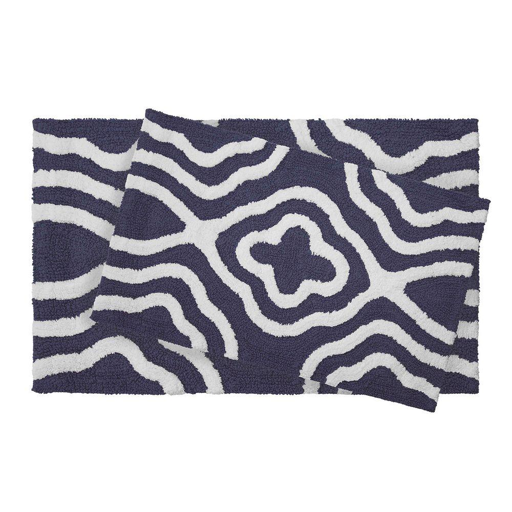 Reversible Cotton Soft Giri Denim Blue 2-Piece Bath Mat Set