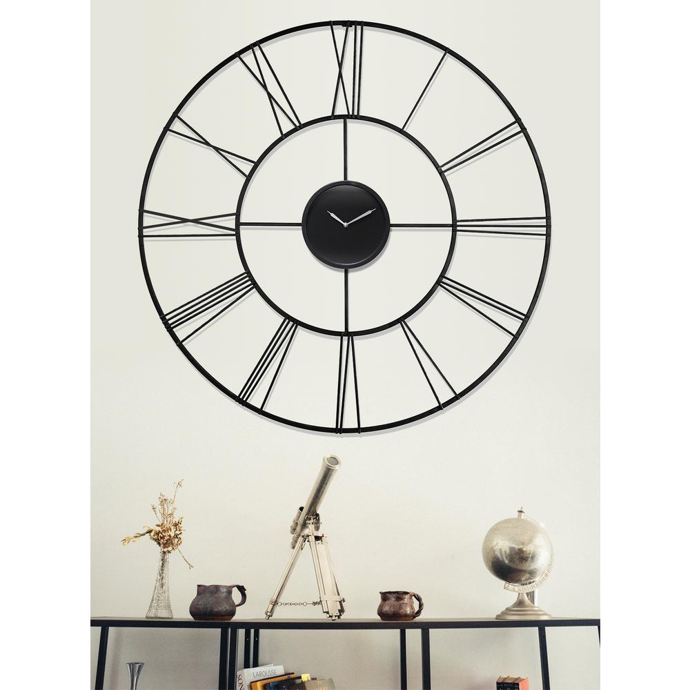 Modern Tower 45.25 in. x 45.25 in. Round Wall Clock