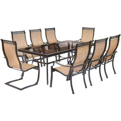 Monaco 9-Piece Aluminum Outdoor Dining Set with Rectangular Glass-Top Table and 2 Contoured Sling Spring Chairs