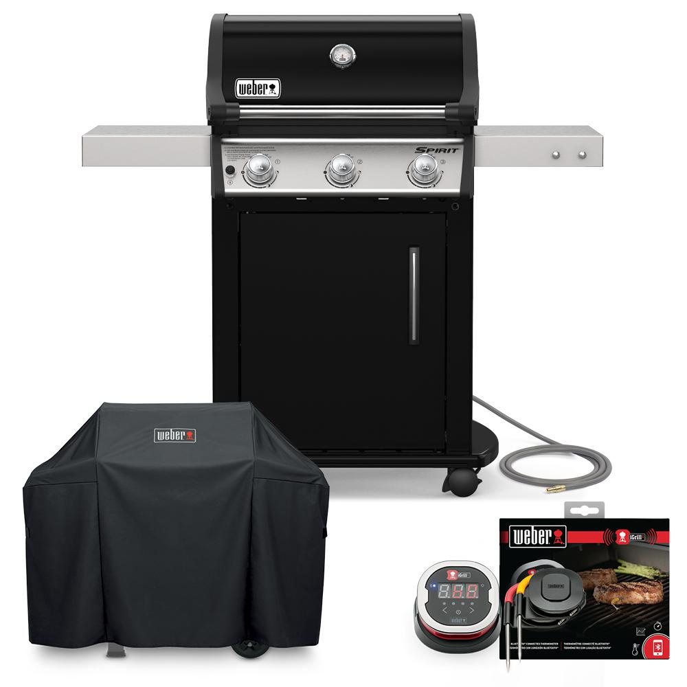 Weber Spirit E-315 Natural Gas Grill Combo with Cover and iGrill 2