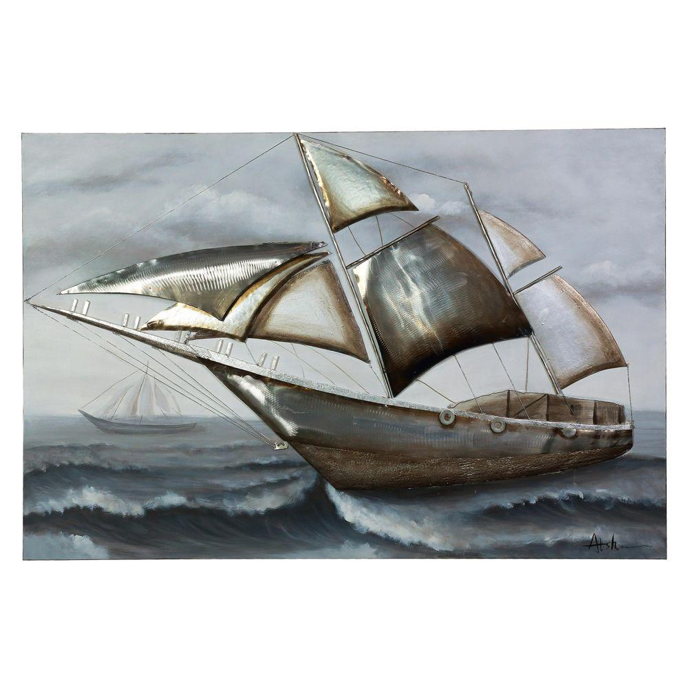 Y Decor 40 In X 59 Sailing The Wind Hand Painted Canvas Wall Art CH291 Home Depot