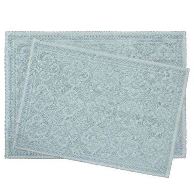 Clementine Beaded Cotton 17 in. x 24 in./20 in. x 34 in. Bath Rug Set, Light Blue