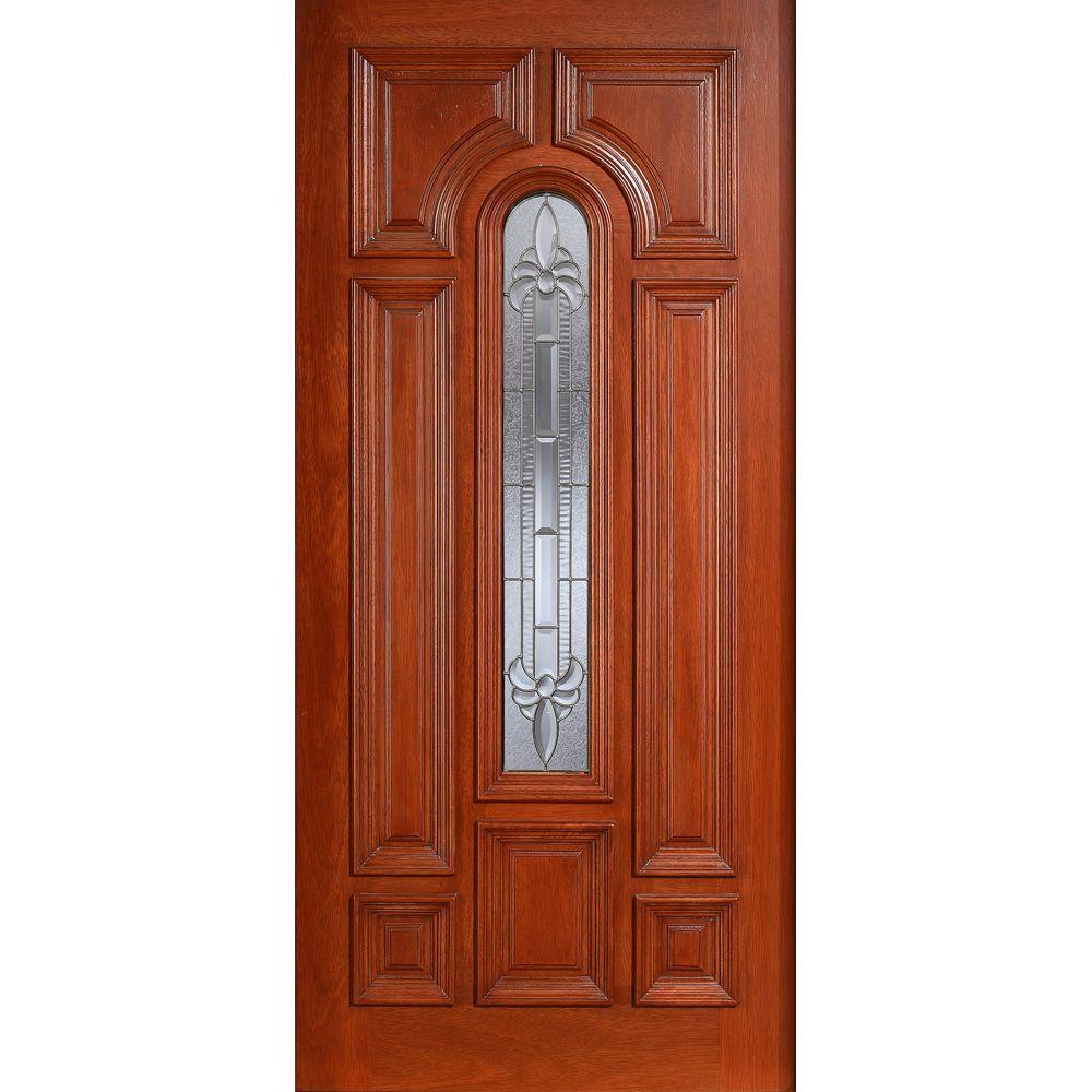 Main Door 36 in. x 80 in. Mahogany Type Prefinished Cherry Beveled Zinc Arch Glass Solid Stained Wood Front Door Slab