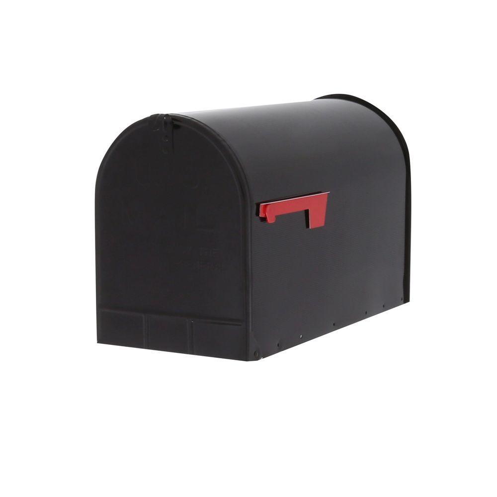 Gibraltar Mailboxes Jumbo Galvanized Steel Post-Mount Mailbox, Black