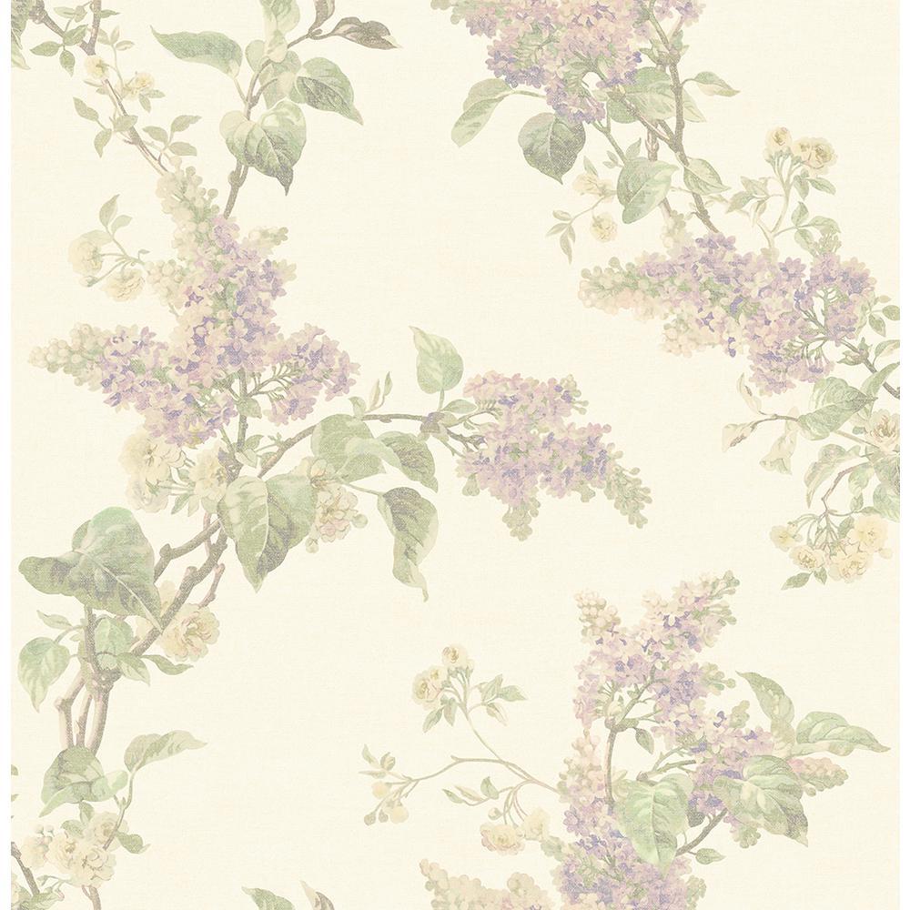 Brewster 56 4 Sq Ft Lyon Cream French Lilac Wallpaper 2766
