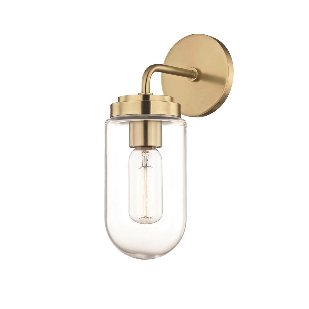 Clara 1-Light Aged Brass Wall Sconce with Clear Glass