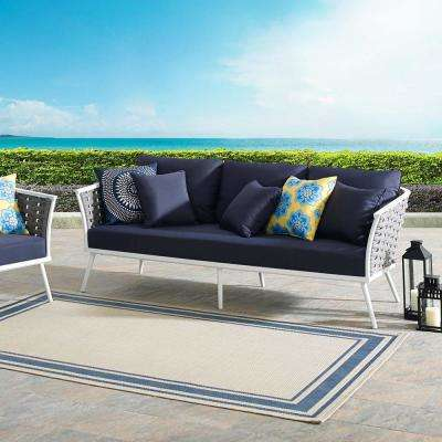 Stance Aluminum Outdoor Sofa in White with Navy Cushions