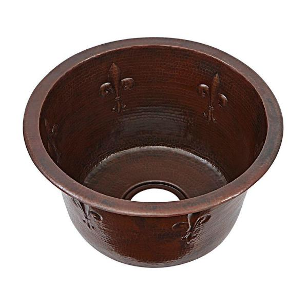 Turner Fleur-de-lis Handmade Pure Dual Mount Copper 16 in. 0-Hole Bar-Prep Single Bowl Kitchen Sink in Aged Copper