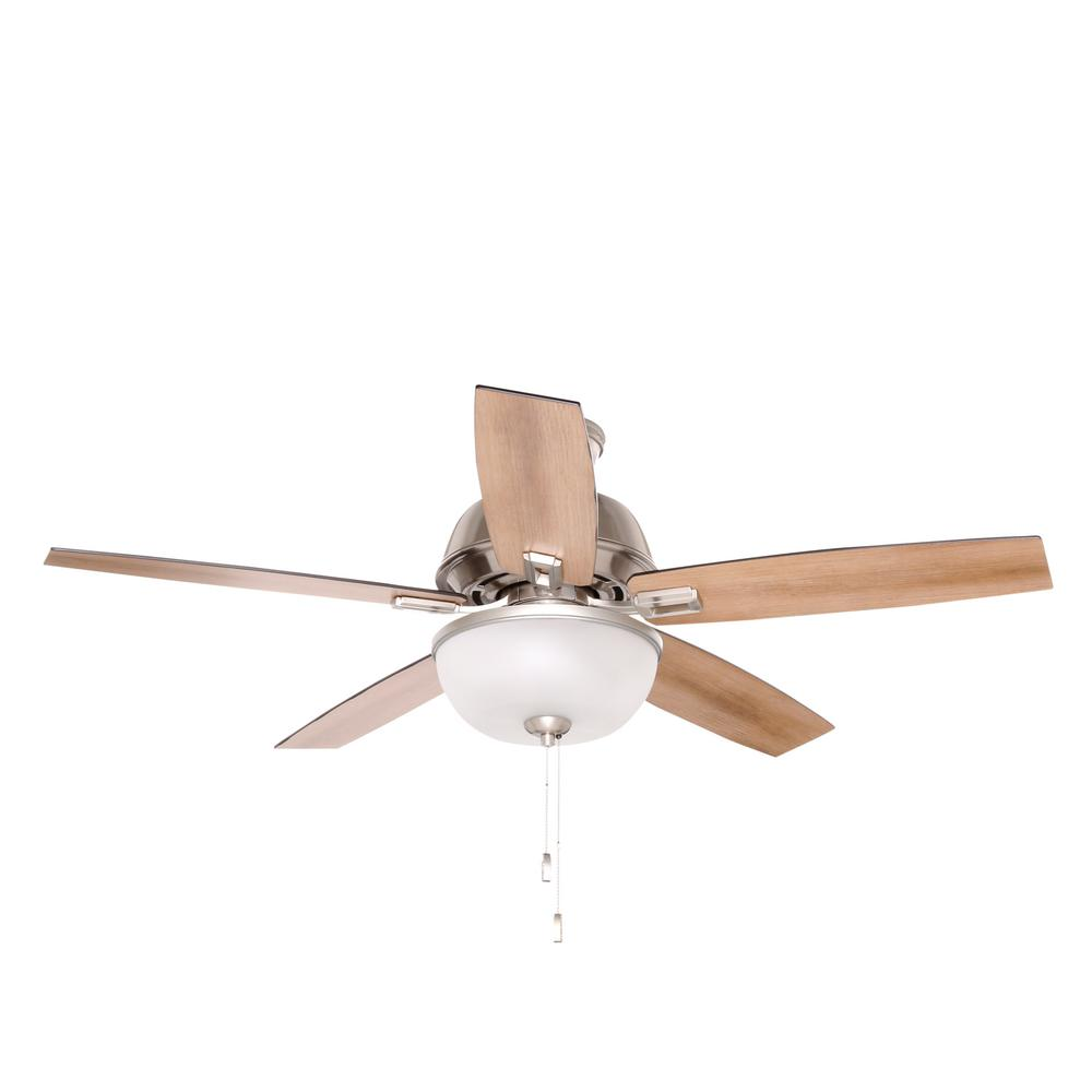 Donegan 52 in. LED Indoor Brushed Nickel Ceiling Fan with Light