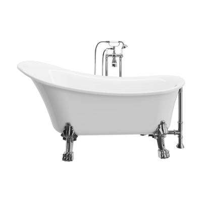 Achilles 59 in. Acrylic Clawfoot Oval Bathtub in White with Reversible Drain and Faucet