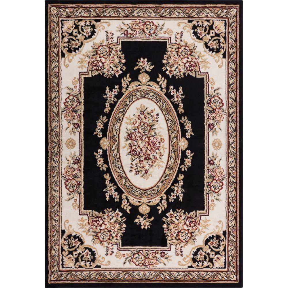 Miami Medallion Centre Traditional French Aubsson Black 8 ft. 2 in.