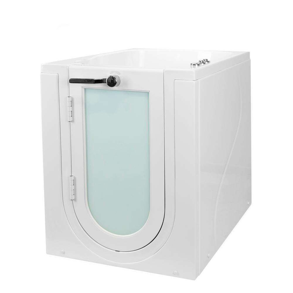 Ella Front Entry 32 in. Acrylic Walk-In Whirlpool and Air Bathtub in White, Left Hand Outward Swing Door, 2 in. Single Drain