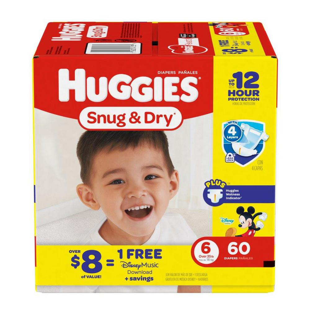 Huggies Snug and Dry Diapers Size 6 Big (60-Count)-43133 ...