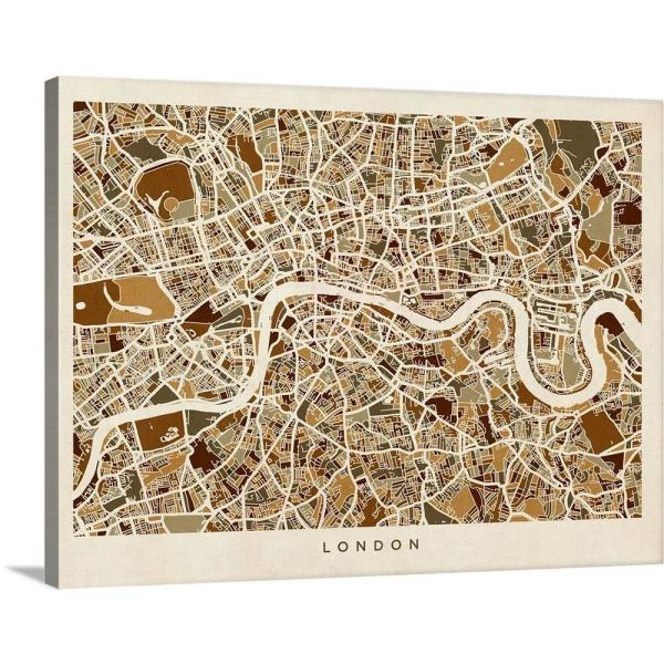 England And London Map.24 In X 18 In London England Street Map By Michael Tompsett Canvas Wall Art