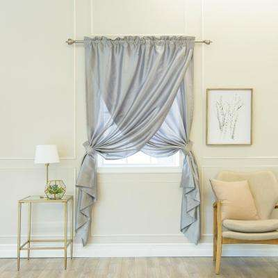 Grey 84 in. L Faux Silk Overlap Curtain Panel (1-Pack)