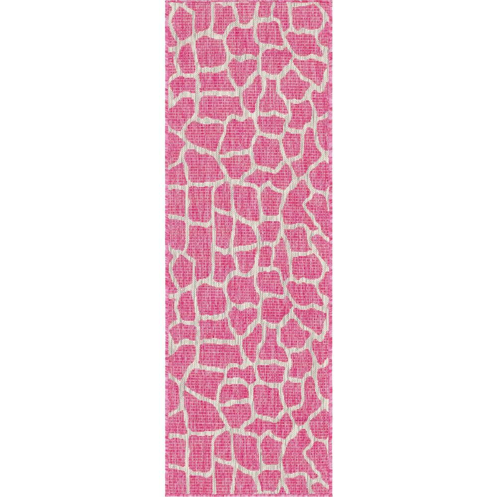 Unique Loom Outdoor Giraffe Pink 6 Ft. Runner Rug-3145224