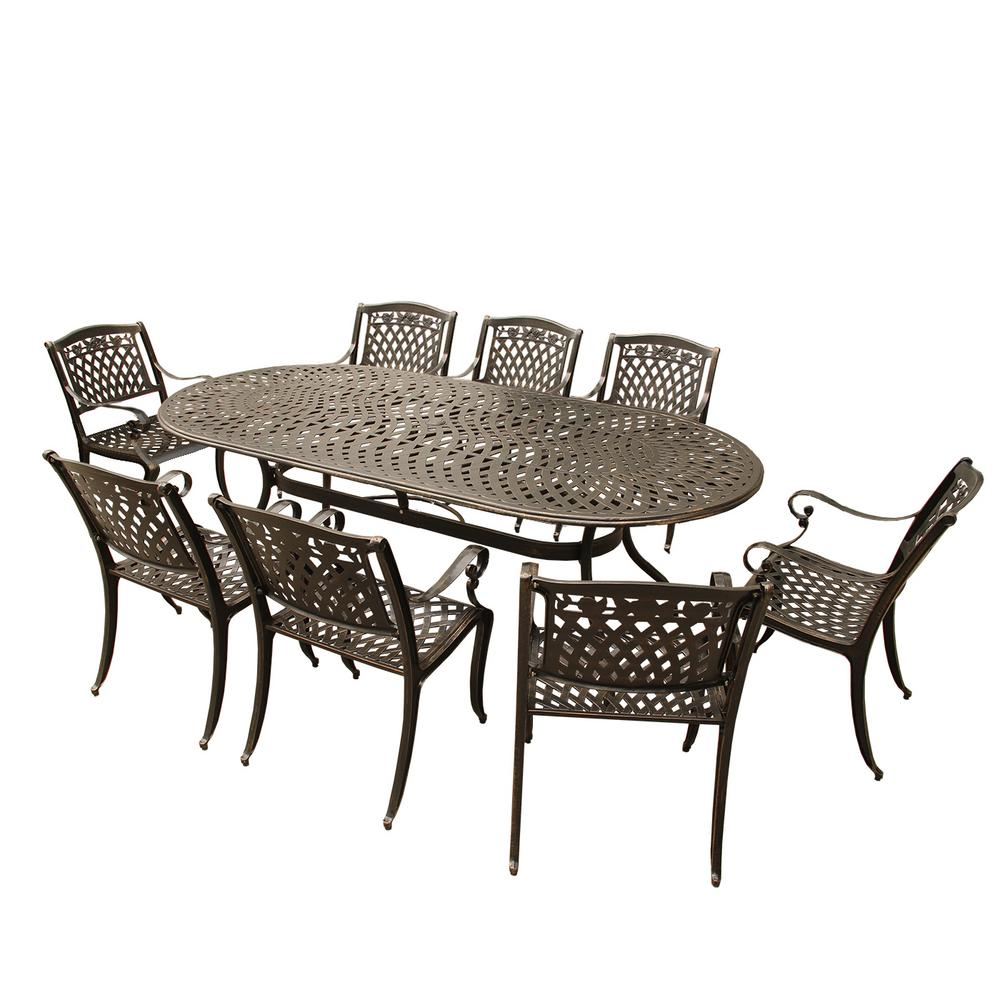 Contemporary Modern 9-Piece Bronze Aluminum Oval Outdoor Dining Set with 8-Arm